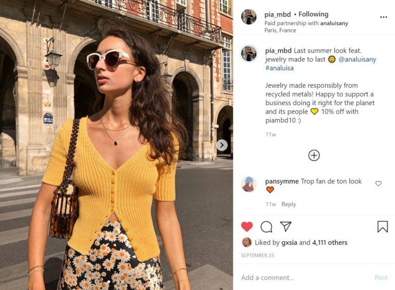 collaboration - liens d'affiliation - Instagram - monétisation - code promo