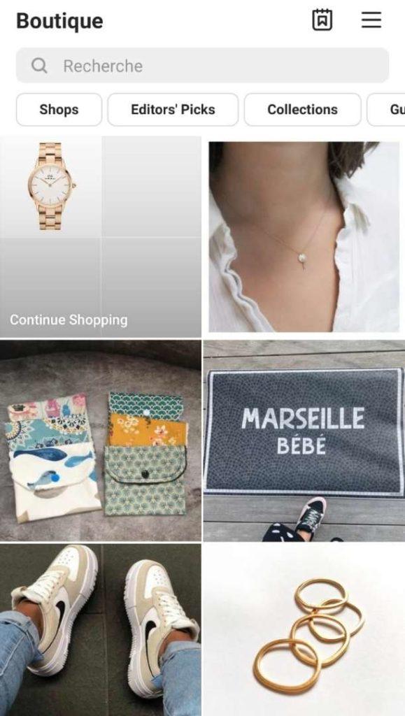 Instagram Shopping - fonctionnalité - Instagram